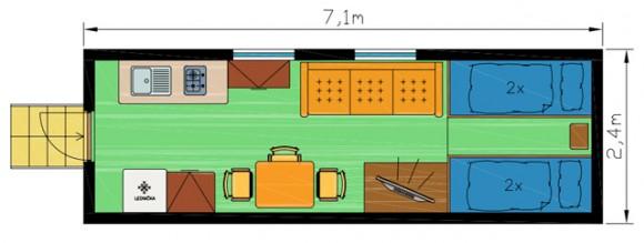 Chatka 1 schéma - Ubytování kemp Sykovec Tři studně