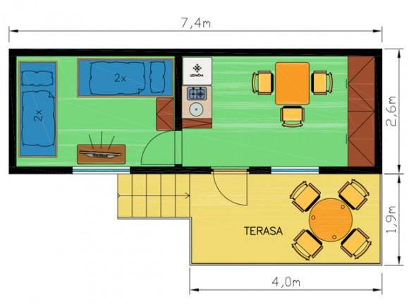 Chatka 2 schéma - Ubytování kemp Sýkovec Tři studně