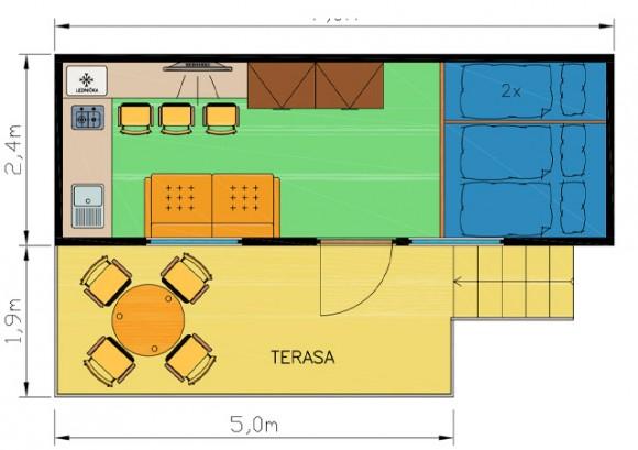 Schéma chatka 5 - Ubytování kemp Sykovec Tři Studně